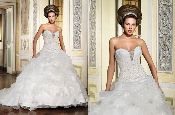 Wedding Dress Ball Gown Beads White Ruffles Floor Length Lace Up Sweep Train Bridal Gowns Cheap Sexy Sl-1802