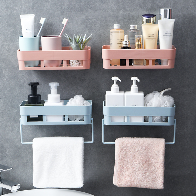 Bathroom Shelf Wall Mounted Shampoo Shower Shelves Holder Kitchen Storage Rack Waterproof Organizer Towel Bar Bath Accessories image
