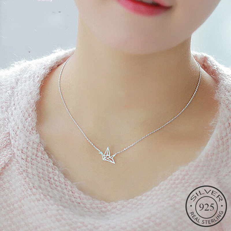 Ethnic Cute Paper Crane Choker Pendant Necklace Real 925 Sterling Silver Fine Jewelry For Women Party Accessories Bijoux