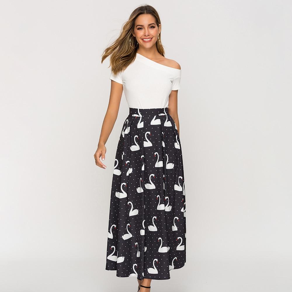 Europe And America WOMEN'S Dress Swan Printed Black Skirt Beach Bohemian Autumn And Winter Pleated Skirt Half-length Mid-length