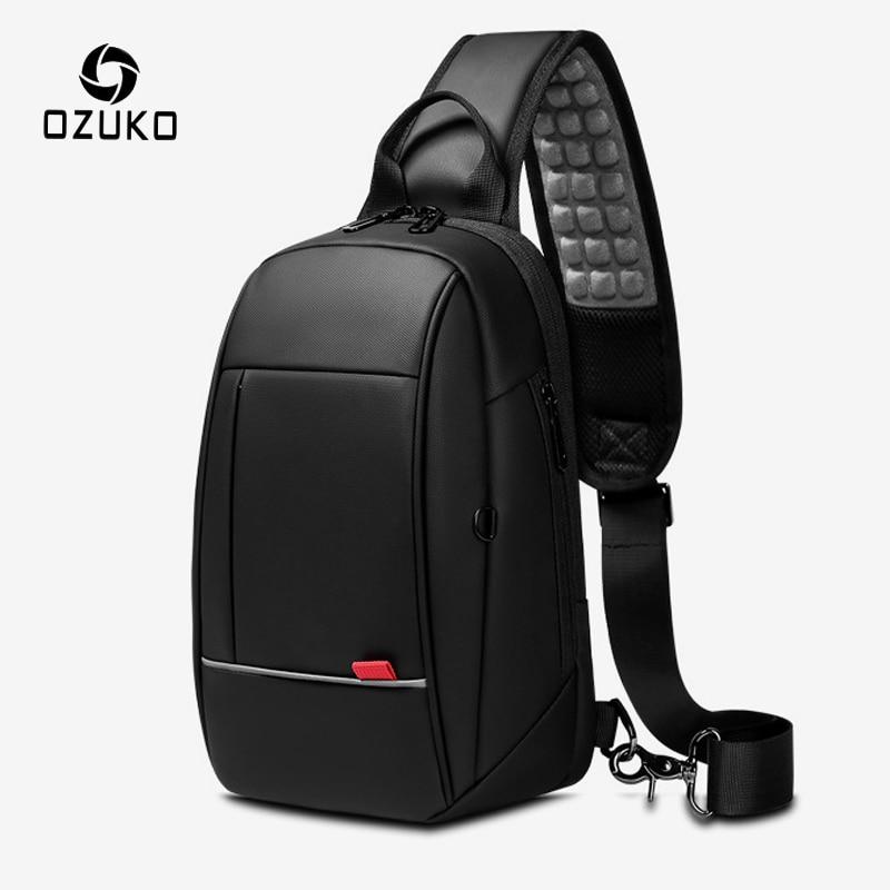 OZUKO Men USB Charging Waterproof Chest Pack 9.7