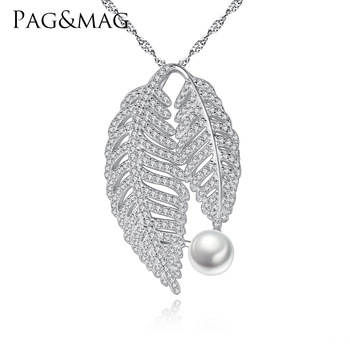 PAG&MAG necklace S925 sterling silver fashion leaf shape natural freshwater pearl pendant