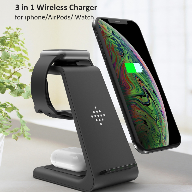 3 in 1 Wireless Charger 10W Fast Charging for iPhone 11 pro/XR/Xs Max/8 Plus for Apple Watch 5 4 3 2 Airpods pro with EU Charger 1