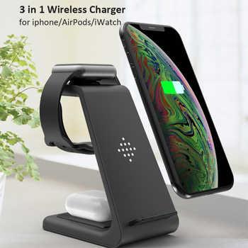 3 in 1 Wireless Ladegerät 10W Schnelle Lade für iPhone 11 pro/XR/Xs Max/8 plus für Apple Uhr 5 4 3 2 für Airpods mit EU Ladegerät