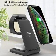 Carregador sem fio 10w 3 em 1, carregamento rápido para iphone 11 pro/xr/xs max/8 plus para apple watch 5 4 3 2, para airpods com carregador da ue