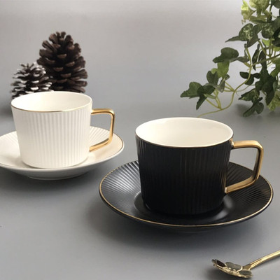 European Small Luxury Gold-plated Coffee Cup And Saucer Set Ceramic Home Creative Two Sets Afternoon Tea Drinkware