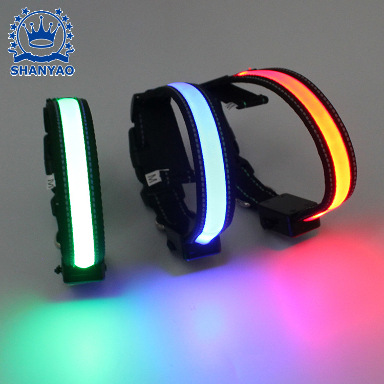 LED Solar Glowing Pet Collar USB Charging Collar Hand Holding Rope Supporting Dog Supplies