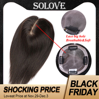10 20 Straight LACE+PU Hair Topper Human Hair Hair piece for Women Black Color Remy Women Toupee with Double Knots