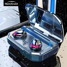 Honeygrand x10 fones de ouvido sem fio bluetooth 5.0 ipx7 à prova dwireless água com base telefone carregamento