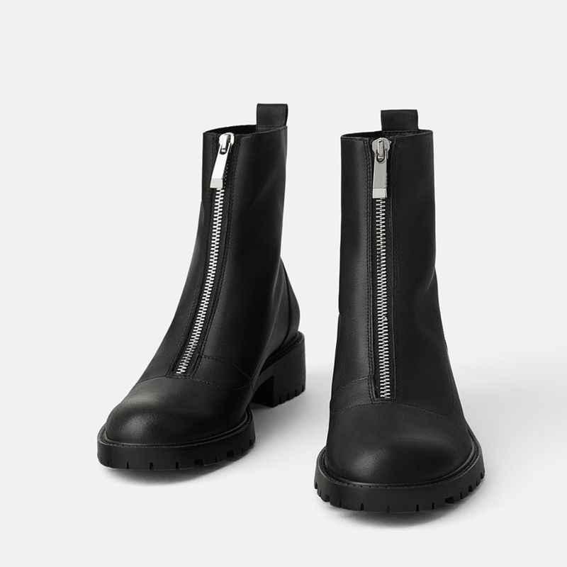 Ön fermuar platformu kışlık botlar kadın 2019 yumuşak deri kürk kış ayakkabı kadın tıknaz topuklu yarım çizmeler kadınlar için