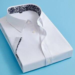 Letnie męskie francuskie koszule mankietów sukienka koszula mężczyzn krótki rękaw jednolity kolor kwiatowy styl spinki obejmują 2020 moda nowy