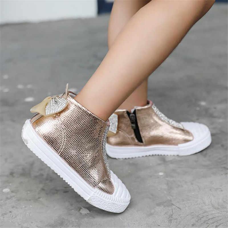 אופנה בנות מגפי בלינג rhinestones bow מרטין מגפי תינוק פעוט נעלי רך תחתון רוכסן ילדי של ספורט נעליים