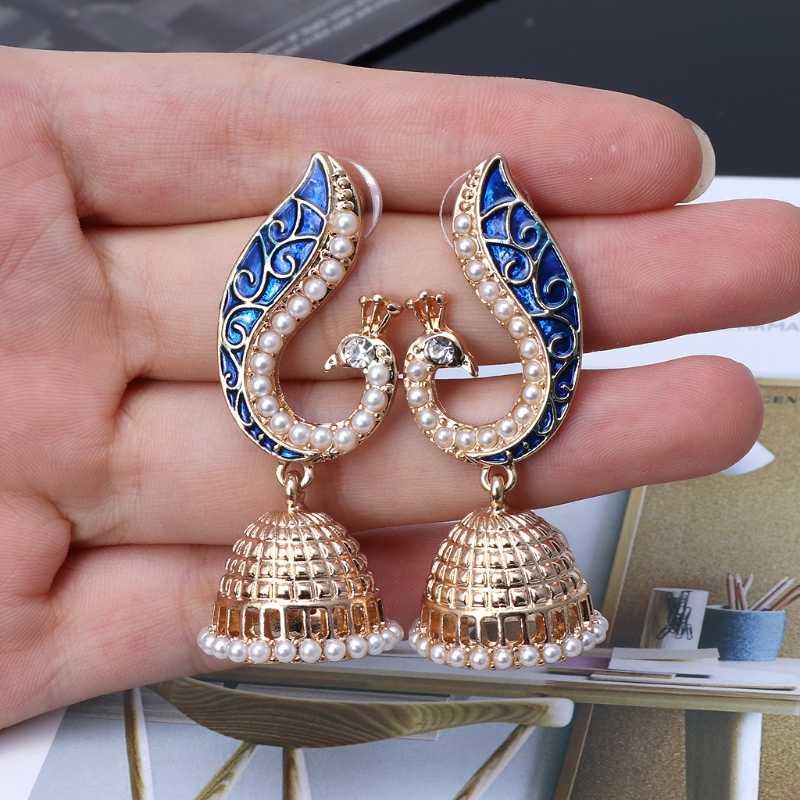 2020 nowy Retro indyjski bollywood Kundan paw Jhumka Jhumki spadek kolczyki Gypsy biżuteria