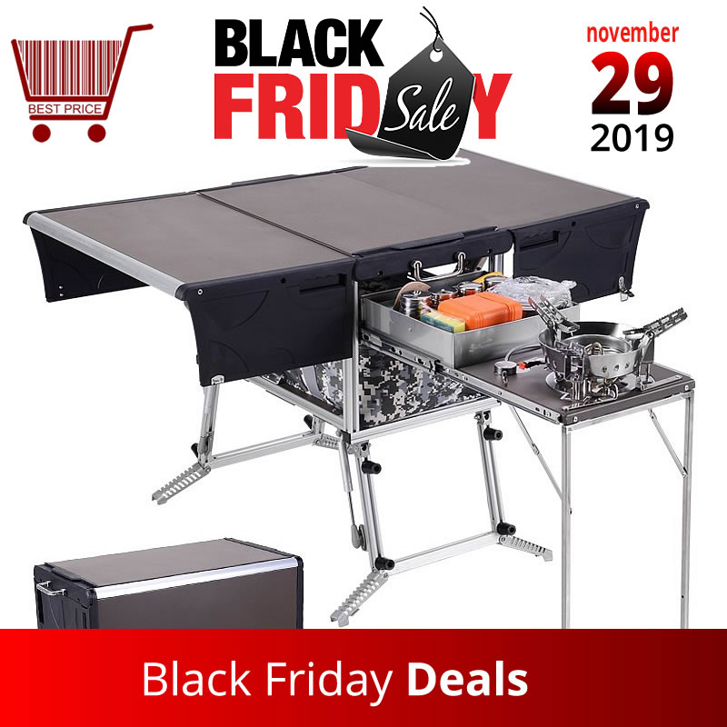 5-7 Person Outdoor Mobile Kitchen Foldable Outdoor Gas Stove Desk Hiking Camping Gas Burners Cooker Stove + Windshield