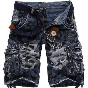 Men Shorts Summer Men Camouflage Military Cargo Shorts Jeans Male Fashion Casual Work Shorts Denim Shorts Large No Belt