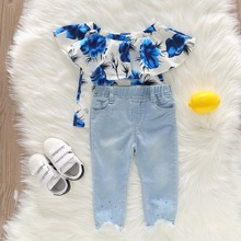 2020 New Baby Girls Outfits Ruffle Girls Clothes Jeans Set Blue Off Shoulder Rose Kids Denim Clothing Denim Pant with Shirt D30 цена 2017