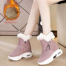 botas mujer invierno 2019 Botas de nieve zapatos de mujer botas de invierno botas de tobillo grueso aumento 2019 invierno nuevo cálido cómodo Casual botas X165