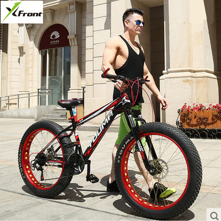 New X-Front brand 27 speed 4.0 fat wide tire snow mobile bike cross country downhill beach mountain bicycle travel bicicleta image