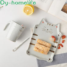 Korean creative handmade cat ceramic plate cup set home kitchen