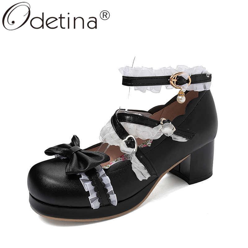 Odetina Women Fashion Platform Bow Ankle Strap Lolita Pumps Lady Elegant Round Toe Block High Heel Buckle Strap Mary Janes Shoes