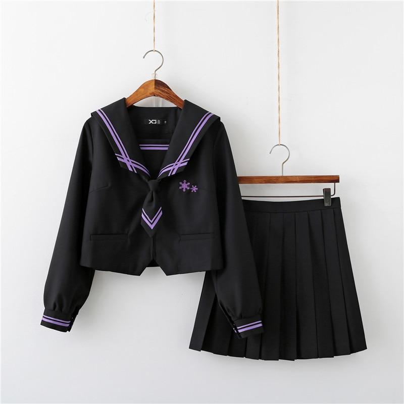 Snowflake Embroidery Fashionable School Uniform Sailor Suits COS School Wear Women Lolita Chorus Uniforms
