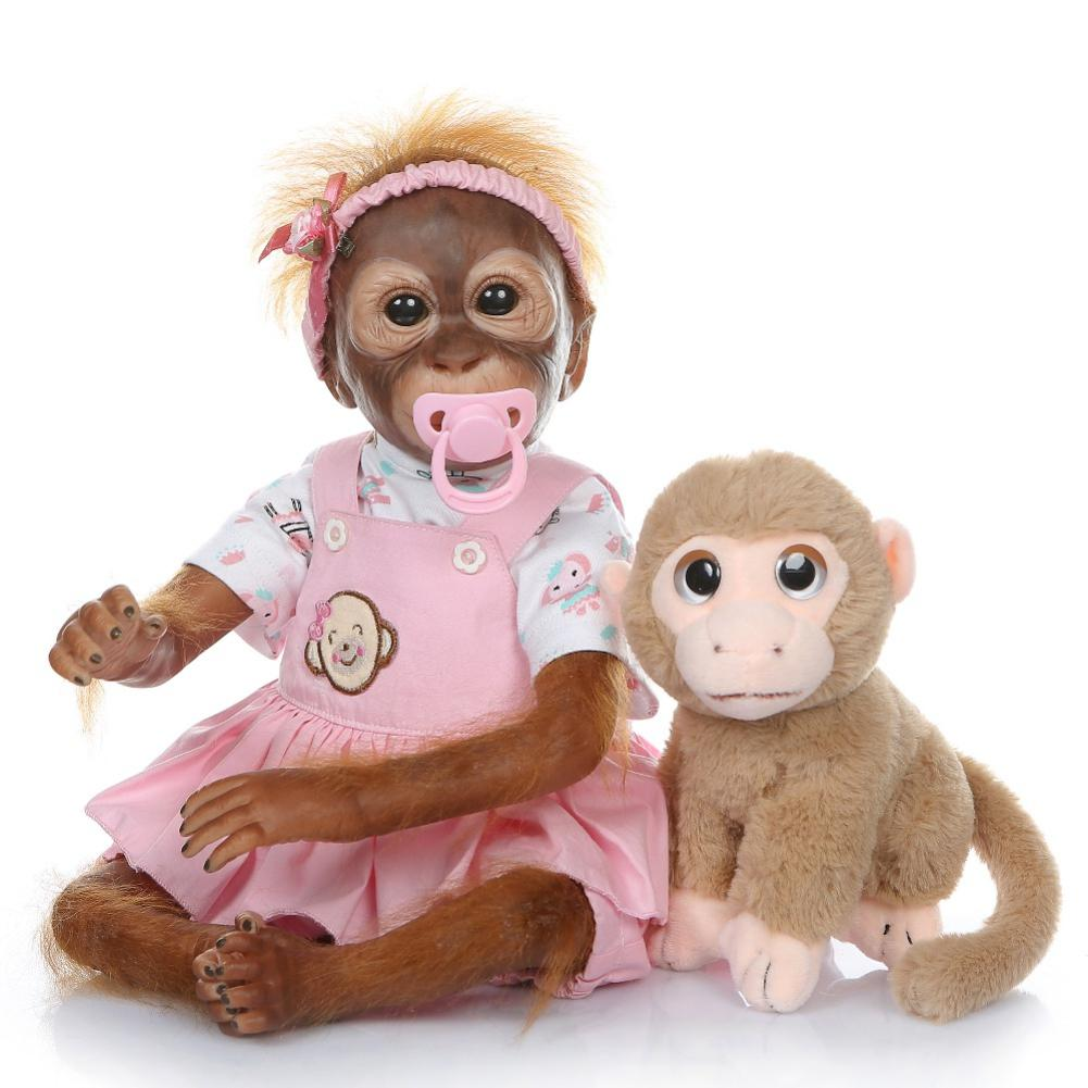 NPK 52CM Handmade Detailed Paint Bebe Reborn Baby Monkey Doll Collectible Art Plush Toys Gift For Girls