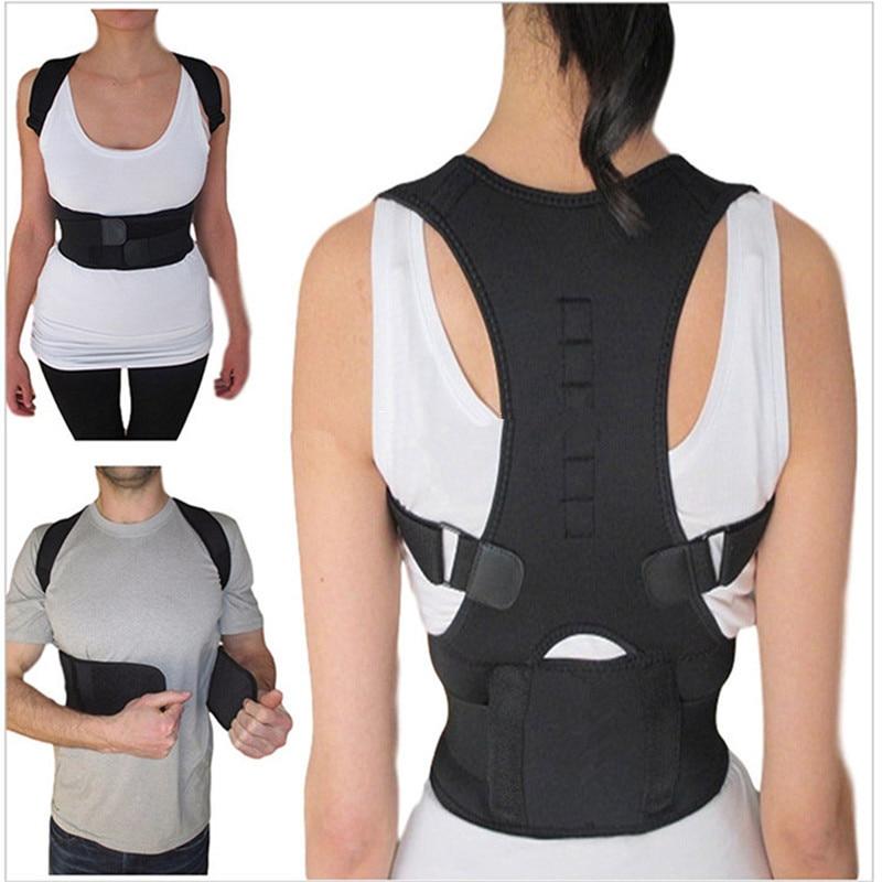 Back Humpback Posture Brace Adjustable Protection Spine Body Shaper Magnetic Belts Black Shoulder Posture Corrector Unisex