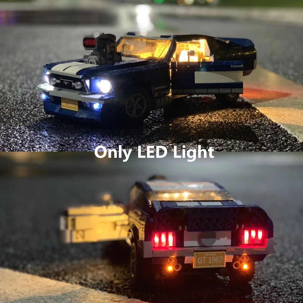 (Hanya Light) lampu LED untuk CREATOR Ford Mustang GT500 1967 1960 Blok Bangunan Kit Batu Bata Klasik Model Mainan 10265 21047