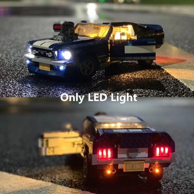 (光のみ) ledライトのためのクリエーターフォードマスタングGT500 1967 1960ビルディング · ブロックキットレンガ古典的なモデルのおもちゃ10265 21047