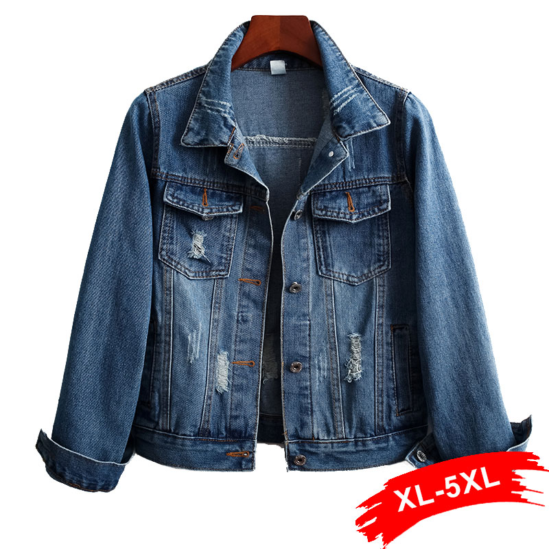 Women Plus Size Ripped Vintage Casual   Basical   Blue Denim   Jacket   4XL 5XL Streetwear Single Breast Slim Women Denim Coat