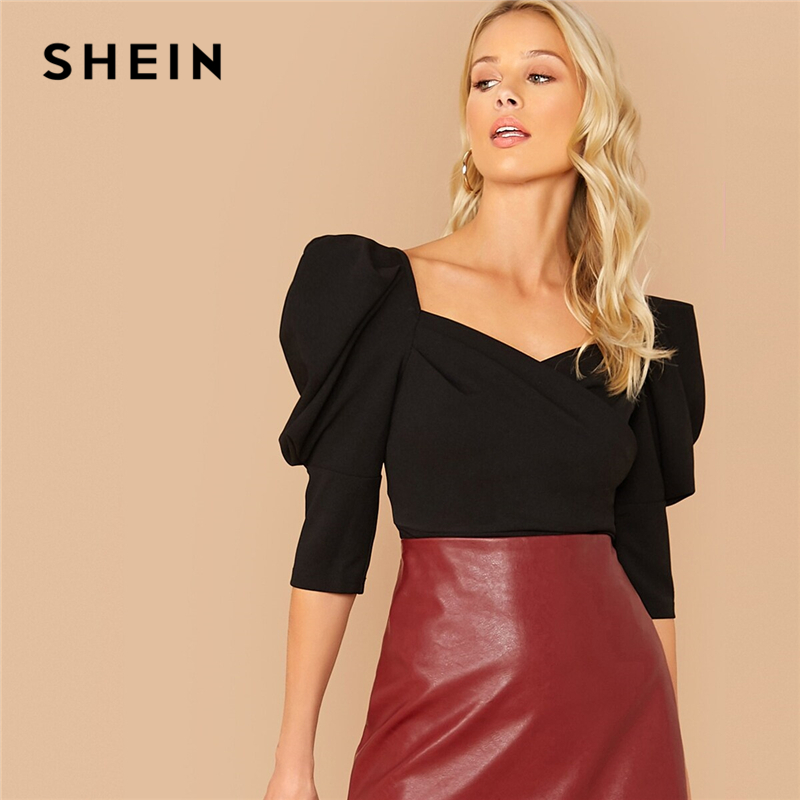 SHEIN Black Solid Puff Sleeve Sweetheart Neck Blouse Top Women Spring Autumn Wrap Front Office Ladies Elegant Tops And Blouses