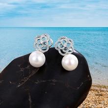 Fashion Women's Pearl Crystal Simple Statement Luxury Rhinestone Earrings Pendant Wedding Pearl Stud Earrings Jewelry Party gift цена и фото