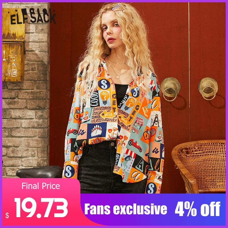 ELFSACK Colorful Graphic Print High Low Casual Blouse Women 2020 Spring New Vintage Long Sleeve Korean Style Ladies Daily Tops