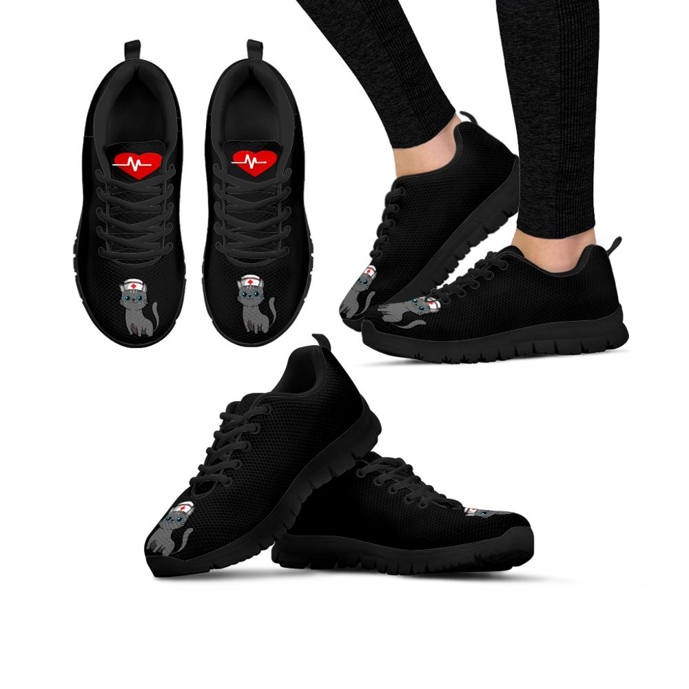 FORUDESIGNS Women's Sneakers Flats Black Nurse Cat Brand Designer Ladies Spring Shoes Woman Comfortable Mesh Girls Zapatos 2020