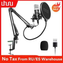 Micro à condensateur UHURU USB Podcast 192kHZ/24bit Kit de Microphone cardioïde en continu pour ordinateur portable Youtube karaoké