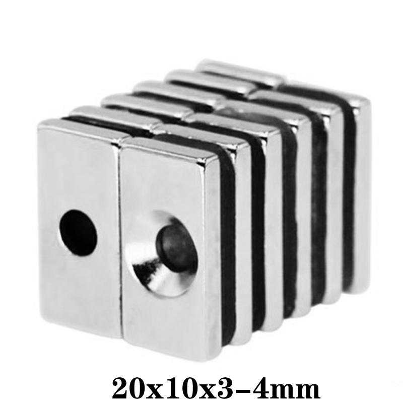 5 ~ 100 шт., мощный магнит 20x10x3-4, отверстие 4 мм