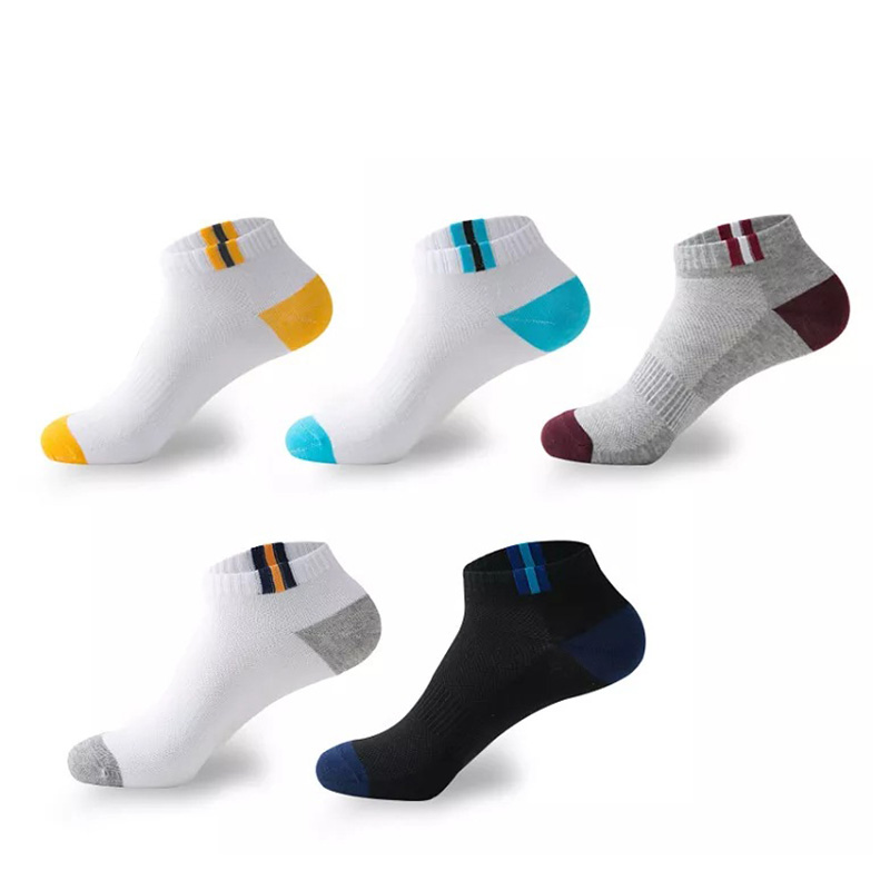 5 Colors Men Cotton Short Sock Breathable Elastic Socks For Male Solid Color Stretchy Sports Short Sock Suit For All Season