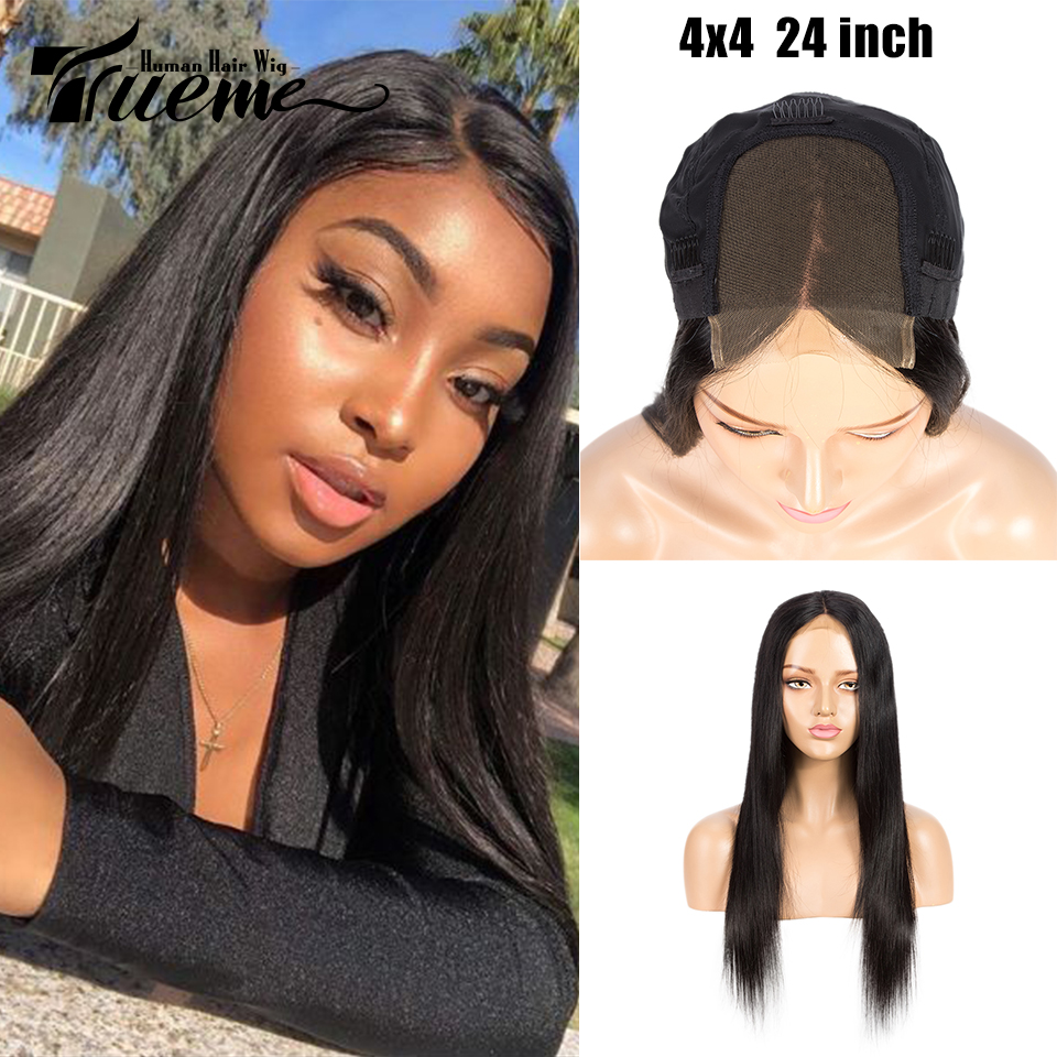 True Me 4x4 Lace Closure Wig Pre Plucked With Baby Hair For Black Women Brazilian Remy Straight Lace Front Human Hair Wigs