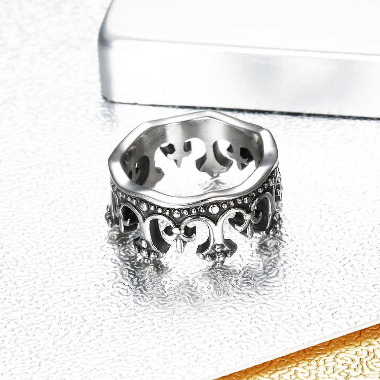 Gran oferta AliExpress gran oferta corona patrón acero Color negro titanio acero corona círculo anillo para hombre