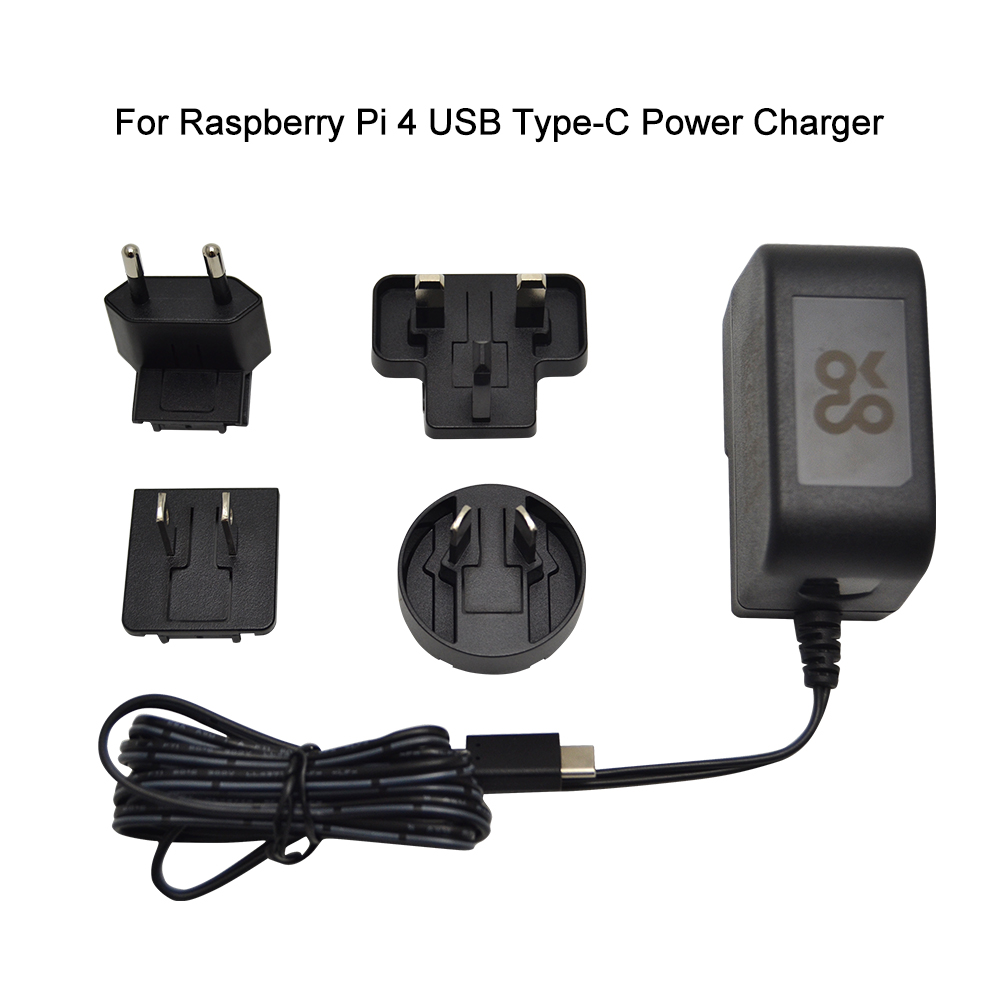 Original Raspberry Pi 4 USB Type-C Power Charger EU US UK AU Plug Supply Replaceable Plug Charger 5.1V 3A