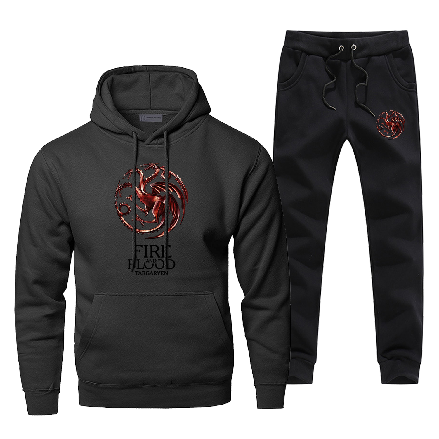 Game Of Thrones Hoodies Pants Set Fire Flood Men Hoodie Sweatshirt Mens Hoodies Pollover 2 Piece Set Streetwear Male Sweatshirts