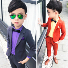 Детские костюмы для мальчиков на свадьбу из 2 предметов, Блейзер, брюки Детский костюм для мальчиков, праздничная одежда для мальчиков-подростков смокинги, Школьный костюм