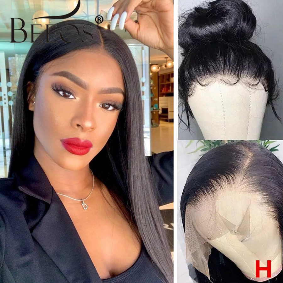Beeos 180% 13x6 HD Transparent Lace Front Human Hair Wigs  Pre Plucked Straight Brazilian Hair With Baby Hair Bleached Knots