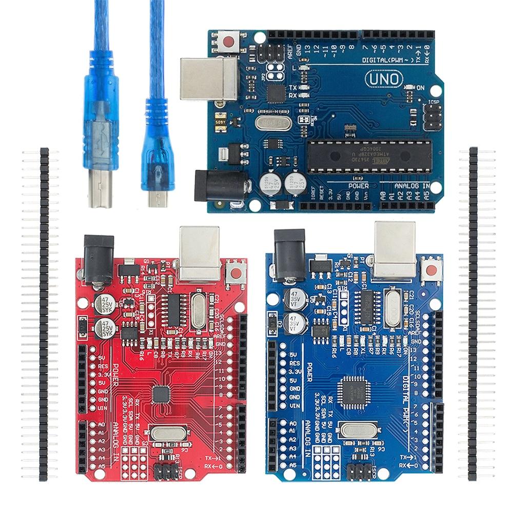 Uno r3 ch340g + mega328p smd chip 16mhz para arduino uno r3 placa de desenvolvimento cabo usb atega328p um conjunto
