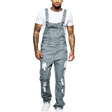 Jeans Men Summer Pockets Hole Denim Jumpsuit Casual Streetwear Overall Long Pants Man Fitness Pantalones Hombre Cortos 2019 F826(China)
