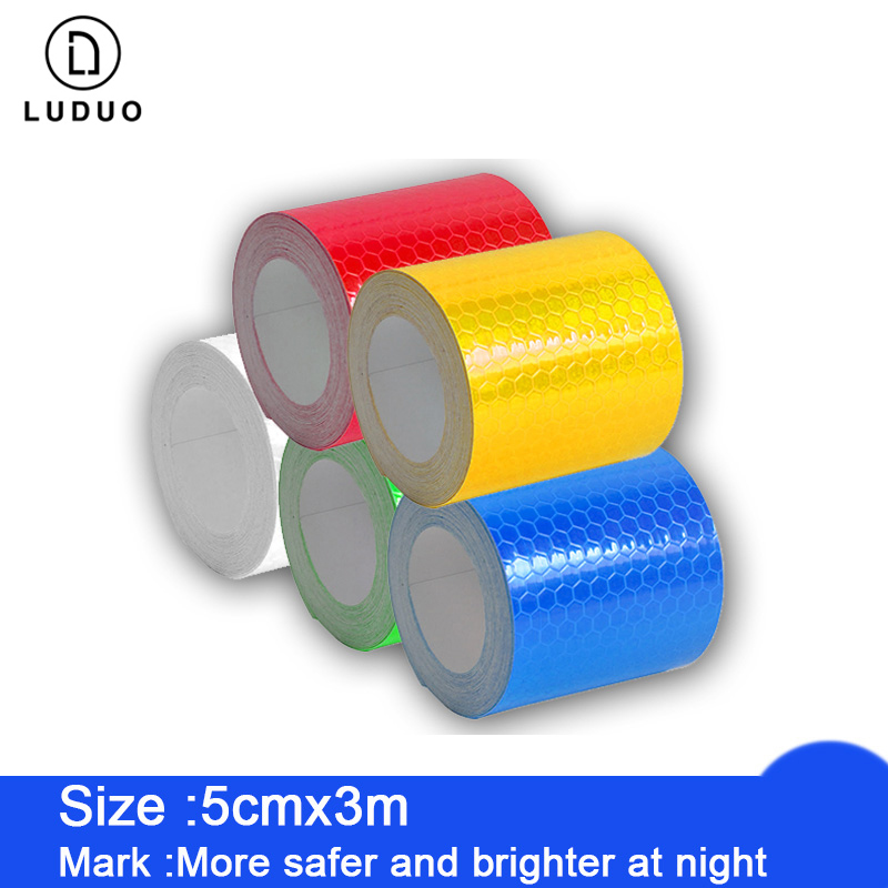 LUDUO 5cmx3m Reflective Strips Tape Car Stickers Safety Mark Adhesive Warning Glow Dark Night Tape Motorcycle Film Accessories-in Reflective Strips from Automobiles & Motorcycles