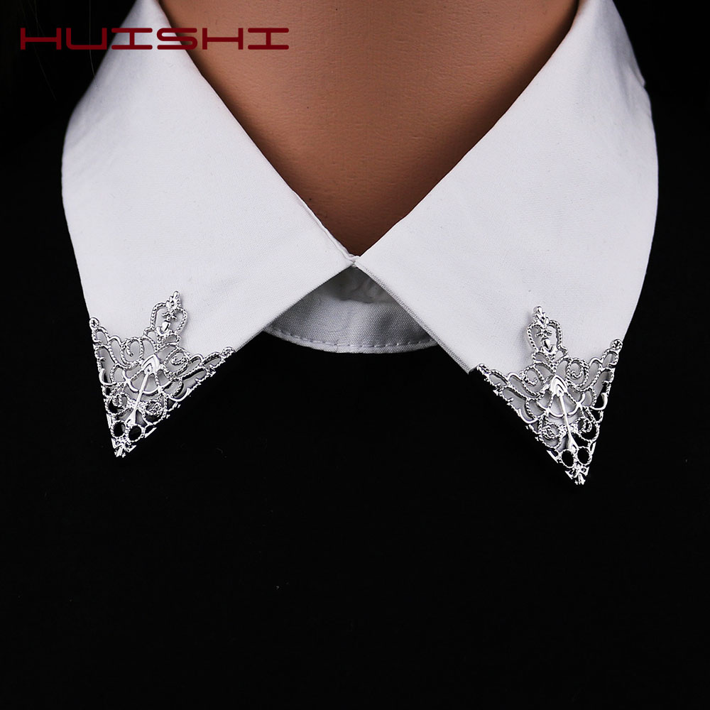 HUISHI Brooches For Men Vintage Fashion Triangle Shirt Collar Pin Hollowed Out Crown Leaf Badge Wedding Banquet Fashion Jewelry 1