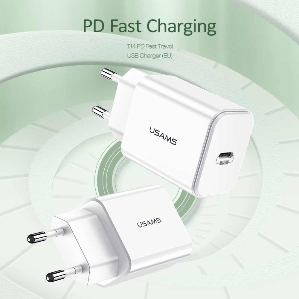 Usams ue/eua 18 w pd carregador rápido usb tipo c carregador rápido para o iphone x xs xr 8 carregador do telefone móvel para huawei samsung adaptador