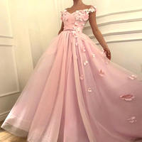 Cheap Off Shoulder Ruffles Organza Pink Prom Dress with Floral Flowers