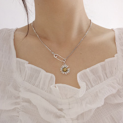 Chrysanthemum Necklace with S925 Sterling Silver Vintage Clavicle Chain Sweater Chain Women Jewelry Pendant Necklace